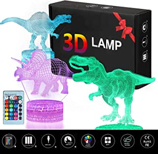 3D Dinosaur Night Light - 3D Illusion Lamp Three Pattern and 16 Color Change Decor Lamp with Remote Control for Living Bed Room Bar Best Gift Toys Birthday Gifts for Boys Girls Kids Baby (3 Packs)