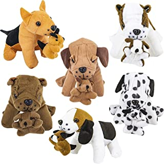 Plush Dogs Holding Puppies (6 Pack) Realistic Looking 7-Inch Cute and Cozy Stuffed Animals - for Birthday Party Favors, Ad...