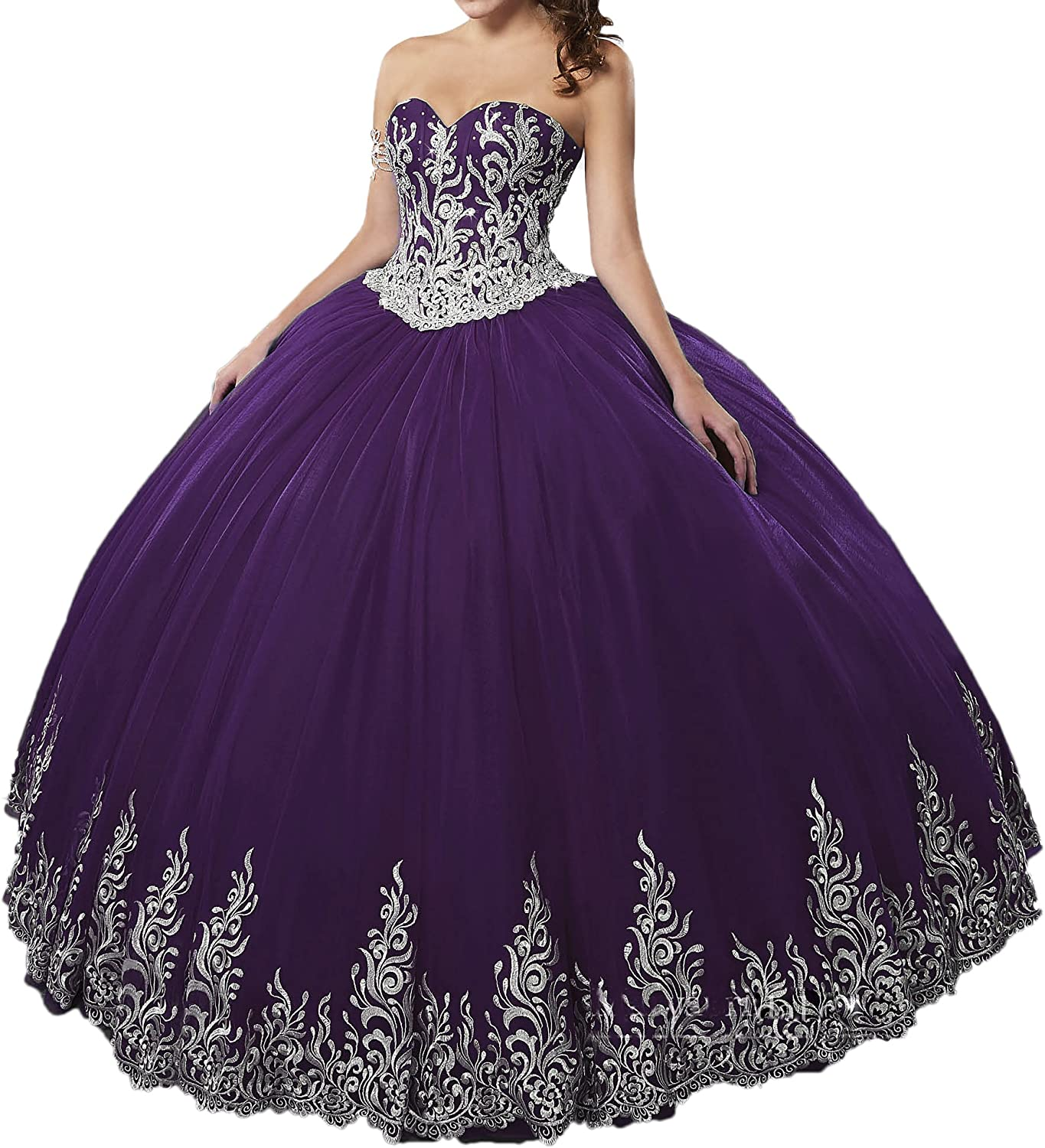 Beilite Women's Sweetheart Embroidery Ball Gown Quinceanera Dresses with Jacket