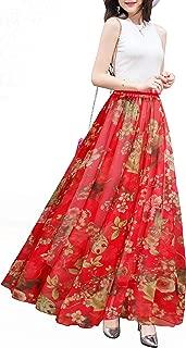 Afibi Boho Floral Long Summer Beach Chiffon Wrap Cover Up Maxi Skirt for Women