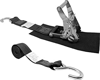 2 Inch Ratchet Strap, Stainless Ratchet with Short Wide Handle, Protective Pad Under Buckle, Stainless Steel S Hook On Each End, Total Strap Length 10 Ft, Polyester Tie-Down Webbing.