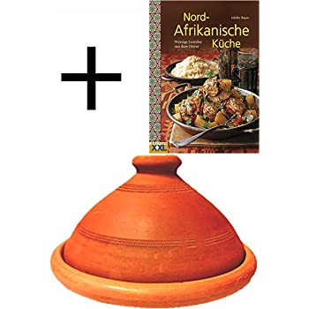 Tajine, original aus Marokko, inklusive Kochbuch Nord Afrikanische Küche, Tontopf zum Kochen, Tuareg Ø 30cm, für 4-5 Personen, handgetöpfert aus Marrakesch, frei von Schadstoffe