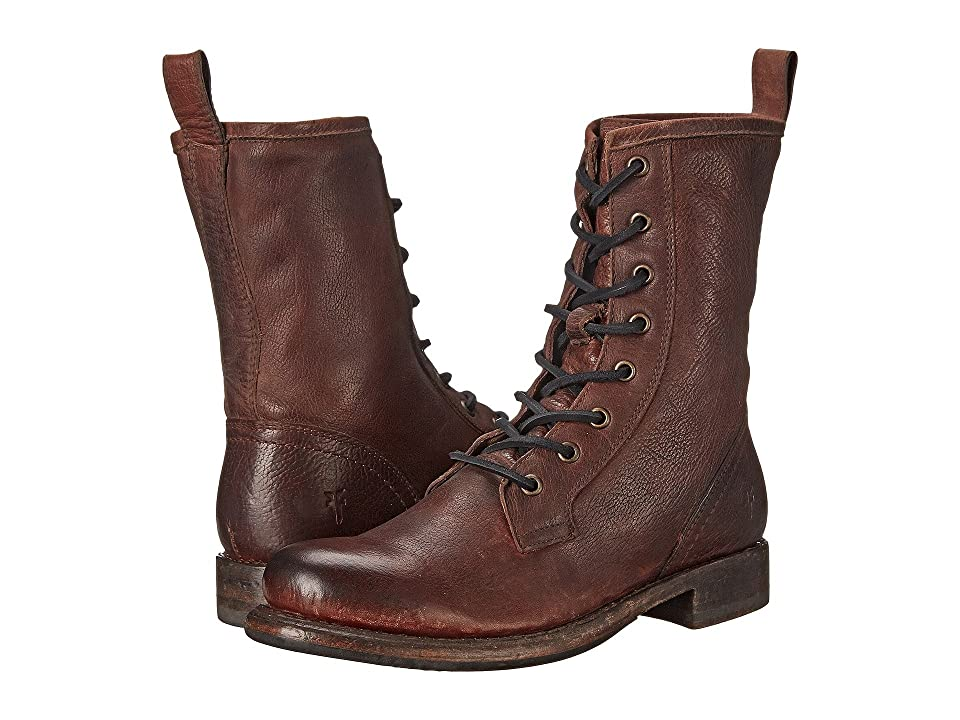 Frye Jenna Combat (Dark Brown Stone Antiqued) Women