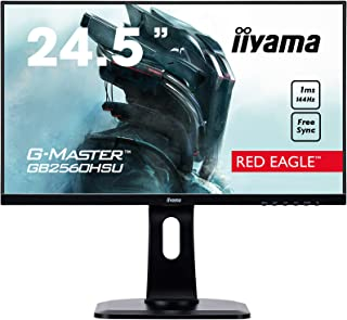 iiyama G MASTER Red Eagle GB2560HSU B1 62,2 cm (24,5') Gaming Monitor Full HD (HDMI, DisplayPort, USB 2.0) 1ms Reaktionszeit, 144Hz, FreeSync, Höhenverstellung, Pivot, schwarz