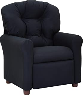 The Crew Furniture 649620 Traditional Kids Microfiber Recliner Chair Jet Black