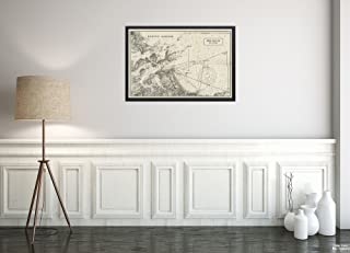 1903 Map Boston Harbor Boston Harbor Boston Yacht Club Hull Courses Relief Shown by Contours. De Vintage Fine Art Reproduction Ready to Frame