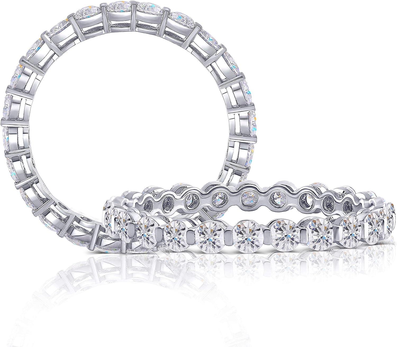 DovEggs Solid 10K White Gold 1.2CTW 2.5mm G-H-I Color Moissanite Eternity Engagement Ring Wedding Band for Women