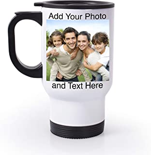 Personalized Travel Mugs with Picture - Custom Travel Mug with Photo, 14oz Photo Travel Mug, Custom Tumbler Personalized, Personalized Travel Coffee Mug with Lid