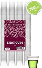 Elite Selection Shot Glasses | 1 Oz. Clear Plastic Disposable Cups | Perfect Party Shot Cups for Shots, Tasting, Sauce, Dips | Pack of 360