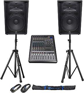 """(2) JBL Pro JRX215 15"""" 2000w PA/DJ Speakers+Powered 8-Channel Mixer w/USB+Stands"""