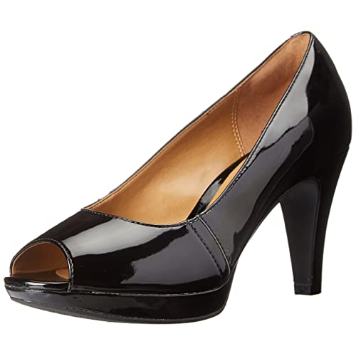 Women s Black Patent Leather Peep Toe Pumps  Amazon.com 00ffb9997