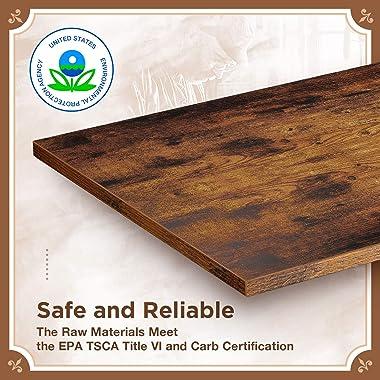 Rolanstar Rustic 3-Tier Shoe Bench, Wooden Accent Entryway Shoe Rack with Corner Protectors, Storage Bench with Retro Metal F