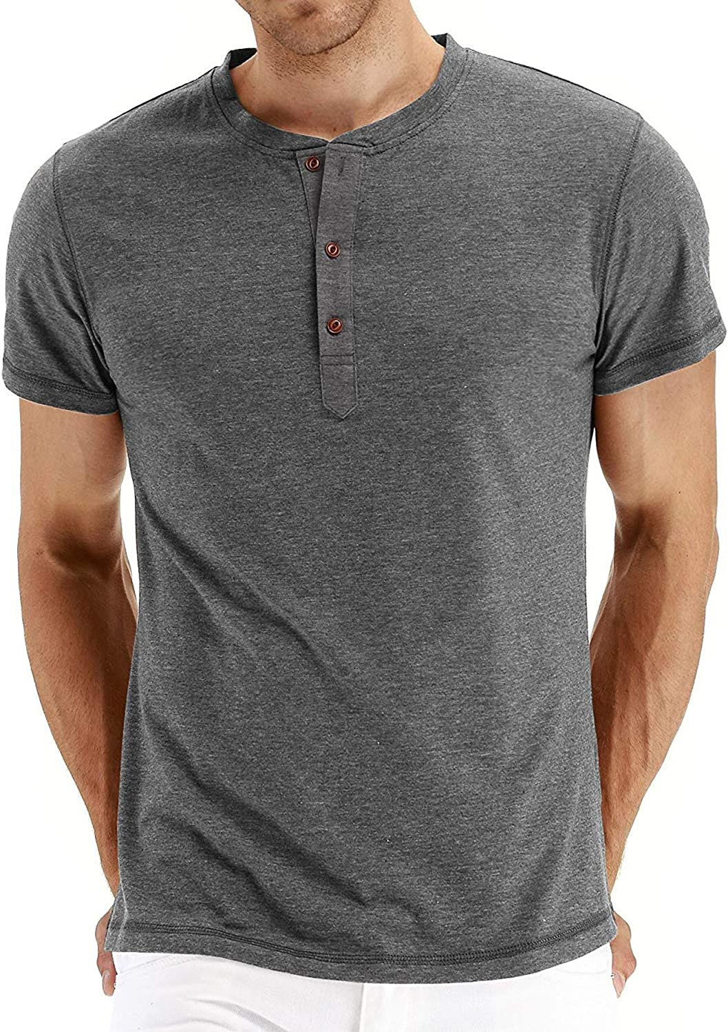 PEGENO Max 60% OFF Men's Fashion Casual Front Selling and selling Long Henl Sleeve Short Placket