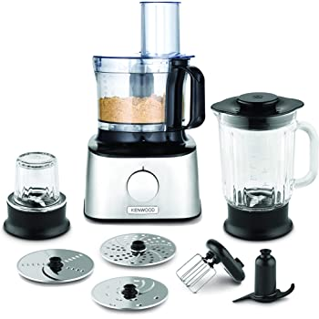 Kenwood FDM302SS Multipro Compact Food Processor, 2.1 Litre Bowl, 1.2 Litre Thermo resist Glass Blender, Dough Hook, Whisk, Reversible Slicing and