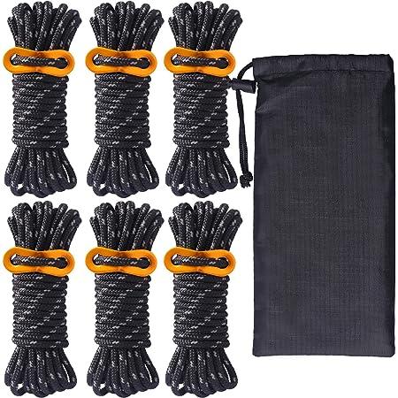 ガイロープ パラコード ロープ テントロープ ガイライン タープロープ 反射 6本 セット 4mm * 4m キャンプ アウトドア アルミニウム 自在金具付き 収納袋付き 耐荷重260kg