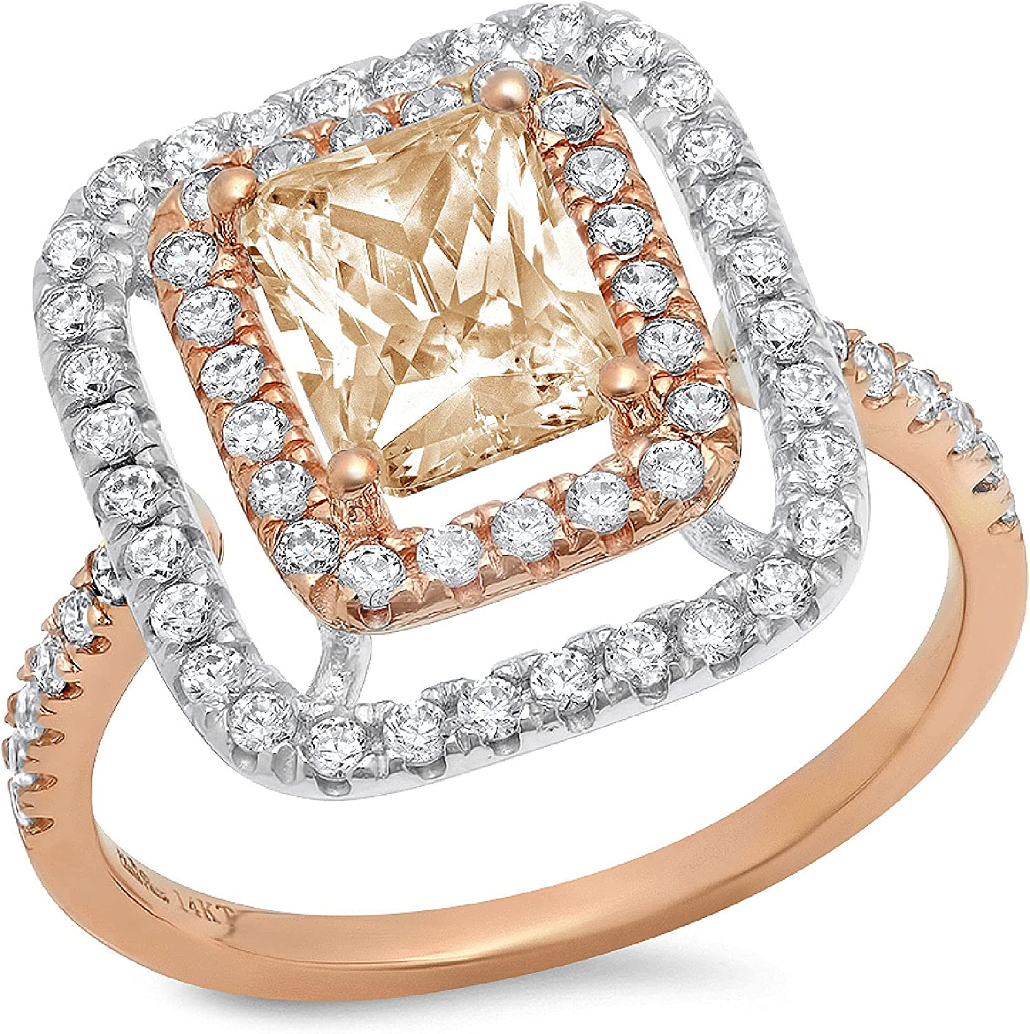 Clara Pucci 2.76 ct Emerald Cut Double Halo Solitaire Accent Stunning Genuine Flawless Natural Brown Morganite Gem Designer Modern Statement Ring Solid 18K 2 tone Gold