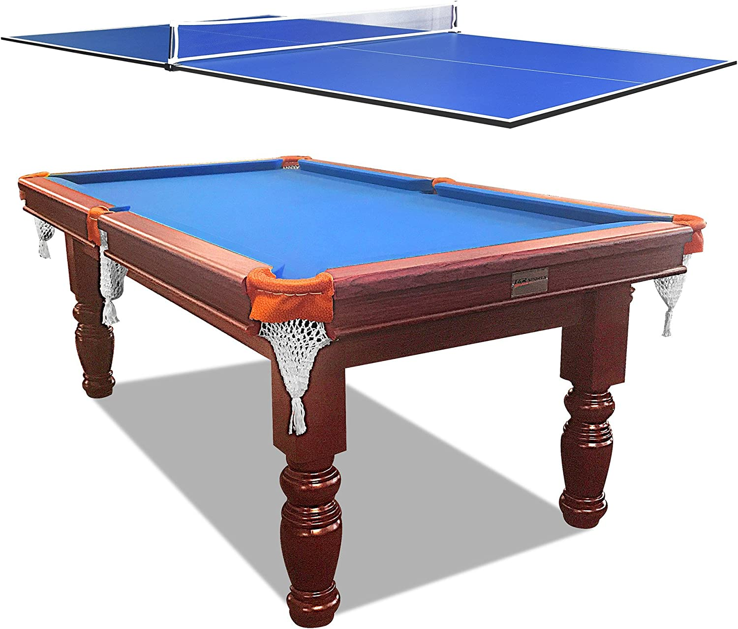 Smart Series MDF Pool Table Game Room Billiard Table Office Snooker Table + 2Pcs Poker and Ping Pong Table Tennis Table Top with Free Accessories Pack