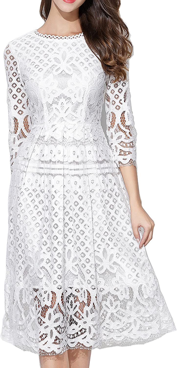 VEIISAR Womens Fashion 3/4 Sleeve Lace Fit Flare Cocktail Party Dress