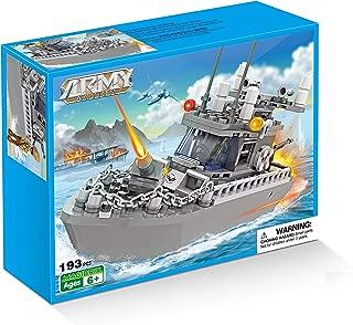 COGO Army Warship Toys Building Blocks Patrol Boat Toys for Boys 6-12 DIY Construction Brick Set 193 Pieces