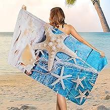 Microfiber Sea Life Beach Towel, Sand Free Seashell Beach Towels Oversized, Water Absorbent Starfish Bath Towel, Sup Soft ...