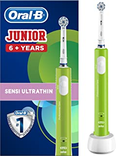 Oral-B Junior Kids Electric Rechargeable Toothbrush for Children Age 6-12, 1 Brush Handle and 1 Sensitive Toothbrush Repla...