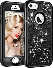 Vofolen Case for iPhone SE Case iPhone 5S Case Glitter Bling Shiny Heavy Duty Protection Full-Body Protective Cover Hard Shell Hybrid Silicone Rubber Armor + Front Bumper for iPhone 5 5S SE Black