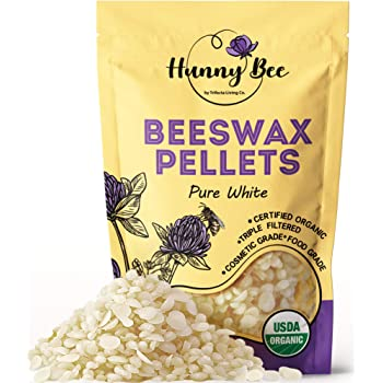 HUNNYBEE Organic White Beeswax Pellets (1lb) | Organic Beeswax Pastilles | Cosmetic Grade | Triple Filtered Beeswax | Easy Melt Beeswax Pastilles for DIY Candles Skin Care Lip Balm