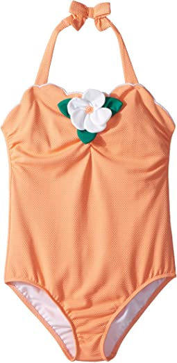 Scallop Hem Flower One-Piece Swimsuit (Toddler/Little Kids/Big Kids)
