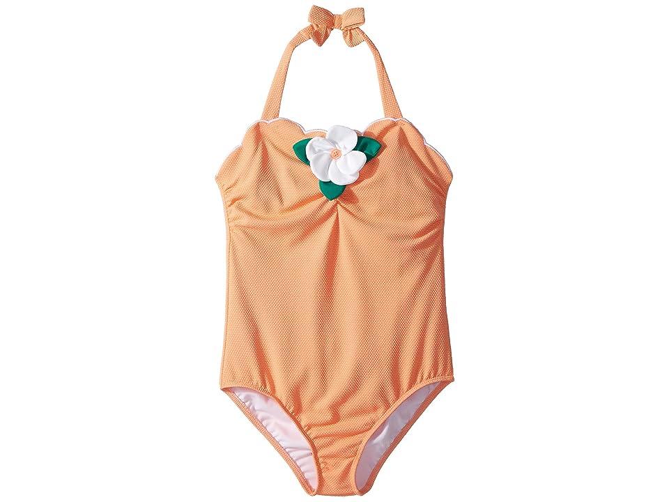 Janie and Jack Scallop Hem Flower One-Piece Swimsuit (Toddler/Little Kids/Big Kids) (Peach) Girl