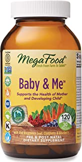 MegaFood, Baby & Me, prenatal vitamin with folic acid, iron & herbs, non-GMO, vegetarian, take 4 tablets daily, 120 tablet...