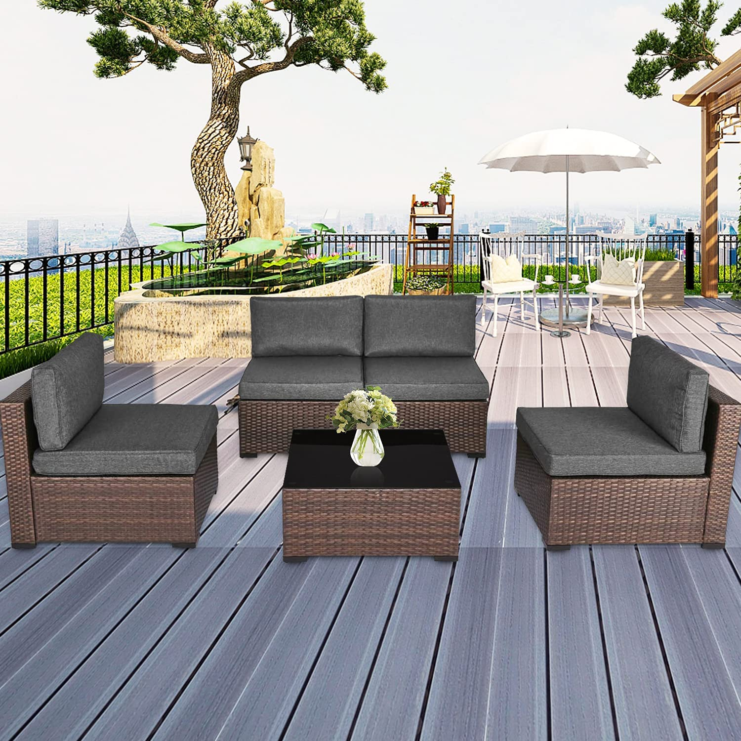 Peach Tree 5 PCs Outdoor Patio Sofa Furniture Set Sale item Wicker Super popular specialty store Chairs