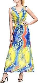 Women's Maxi Dress Floral Print V Neck Casual Long Skirt Plus Size