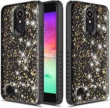 LG K20 Plus Case, TownShop Glitter Bling Heavy Duty Dual Layer Shockproof Bumper Case for LG LV5/ LG K20 Plus/LG K10 (2017) - Black/Gold