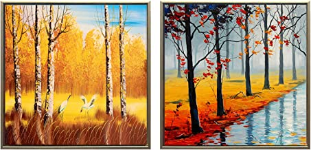 Sumeru Landscape Canvas Wall Art Paintings Abstract Gold Trees Artworks for Home Living Room Bedroom Decoration,2 Piece, 12x12 Inch, Stretched and Framed