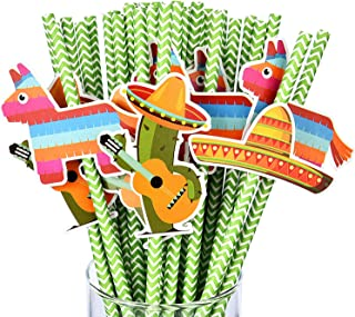 Fiesta Party Paper Straws Cactus Sombrero Donkey Pattern Drinking Straws Striped Decorative Straws for Parties Festival (36 Sets)