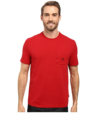 Nautica Short Sleeve Solid Anchor Pocket Tee (Nautica Red) Men