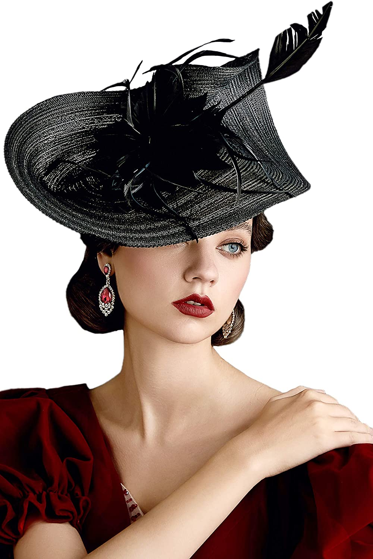 BABEYOND Tea Party Fascinator Kentucky Derby Hat Fascinator Pillbox Hat Headband for Cocktail (A-Black)