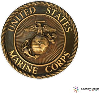 (3) Oval Bronze Plaque Marine Corps 2x2 inches Stickers for Construction Hard hat pro Union Working Men Lunch Box Tool Box Symbol Window Motorcycle Biker - Made and Shipped in USA