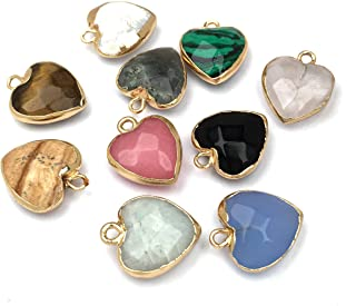 8 PCS Heart Shaped Natural Stone Pendants Healing Chakra Reiki Love Stone Charm Bulk for Jewelry Making