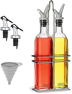 DWËLLZA KITCHEN Oil and Vinegar Dispenser Set - Olive Oil Dispenser Bottles for Kitchen - with Two Extra Drip Free Spouts ...