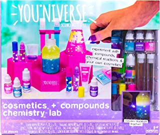Youniverse Cosmetics Compounds Chemistry Lab by Horizon Group USA, DIY Lip Balm Perfume Making Stem Science Kit Assorted/Pink/Blue/Purple/Yellow