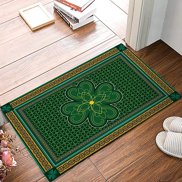 Picpeak Doormats Non Slip Rugs Floor Carpet Keeps Your Floors Clean Traditional Shamrock Irish Decorations Design Non Slip Mat 18x30inch