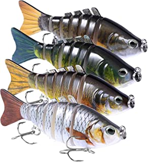 PLUSINNO Fishing Lures for bass, Multi Jointed Trout Swimbaits Crankbaits Popper Life-Like Fish Tackle Kits