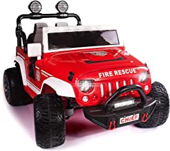 12 Volt Explorer Truck Battery Powered Led Wheels 2 Seater Children Ride On Toy Car for Kids Leather Seat MP3 Music Player with FM Radio Bluetooth R/C Parental Remote (Fire Truck)