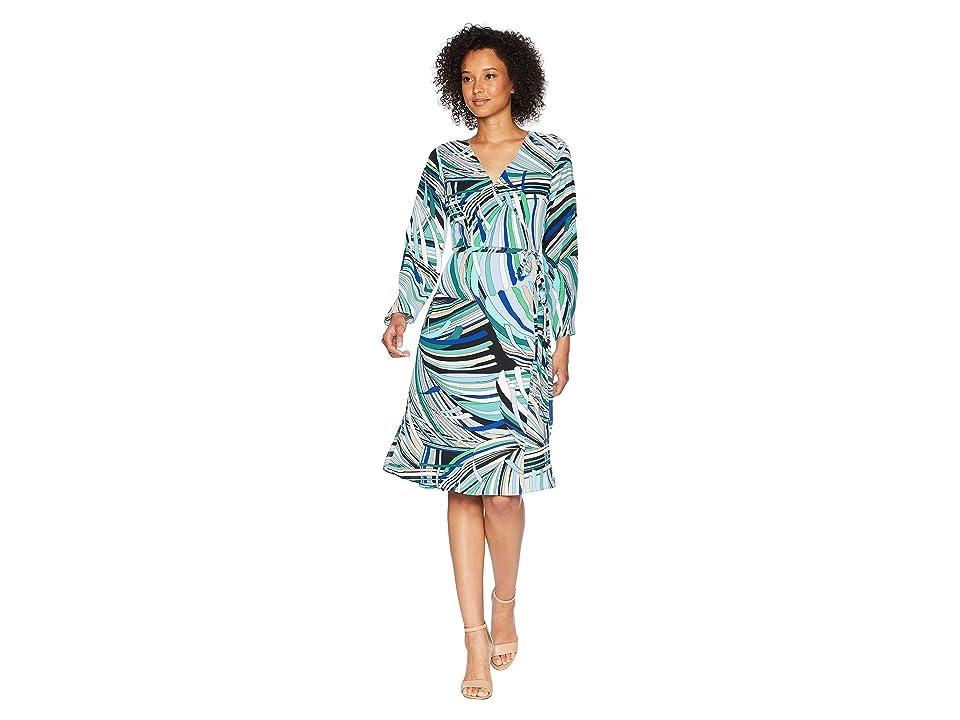 Adrianna Papell Emilio Maze Midi Wrap Dress (Blue/Green Multi) Women