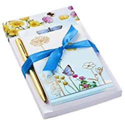 Hallmark Notepad Bundle with Pen, Marjolein Bastin Butterflies and Flowers (3 Notepads in Assorted S