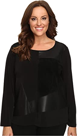Plus Size Long Sleeve Top w/ Faux Leather and Suede Mix