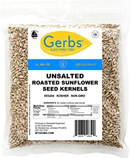 Unsalted Sunflower Seed Kernels by Gerbs 4 LBS - Top 12 Food Allergy Free & NON GMO - Vegan & Kosher - Dry Roasted Hulled Seeds Grown in USA