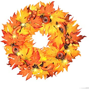 """ALLADINBOX 17"""" Thanksgiving Wreath with LED Lights Pumpkin Berries Maple Leaves, Harvest Day Themed Hanging Silk Fall Door Wreath Welcome Sign for Garden Gate Home Thanksgiving Decorations"""