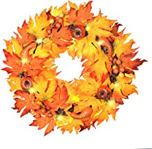 """ALLADINBOX 17"""" Thanksgiving Wreath with LED Lights Pumpkin Berries Maple Leaves, Harvest Day Themed Hanging Silk Fall Door..."""